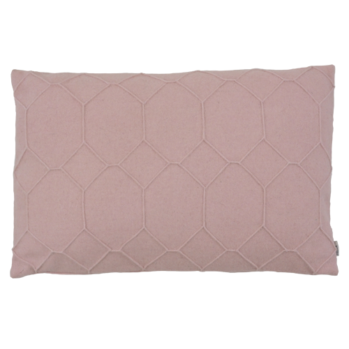 hexagon pale pink kussen licht zacht roze hinck amsterdam wolvilt 40x60cm woonaccessoires met bijzondere texturen met oog voor detail, handgemaakt en of handgeweven