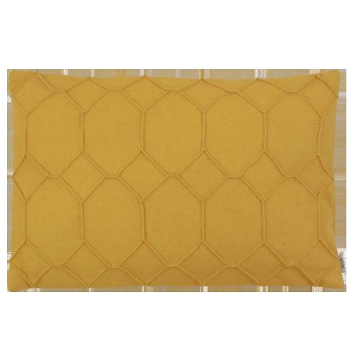 hexagon ochre kussen oker geel hinck amsterdam wolvilt 40x60cm woonaccessoires met bijzondere texturen met oog voor detail, handgemaakt en of handgeweven
