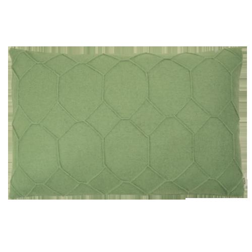 hexagon green kussen groen hinck amsterdam wolvilt 40x60cm woonaccessoires met bijzondere texturen met oog voor detail, handgemaakt en of handgeweven