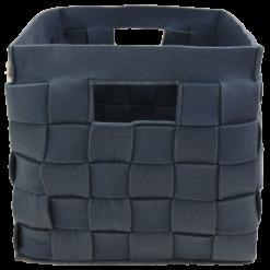 385-blauw-vilten vierkanten opbergmand gevlochten (42x42x46cm)-1