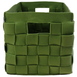 385-groen-vilten vierkanten opbergmand gevlochten (42x42x46cm)-1