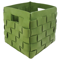 385-groen-vilten vierkanten opbergmand gevlochten (42x42x46cm)-2