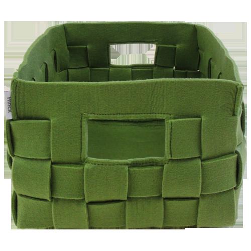 514-groen-vilten geweven mand medium (42x31x24,5cm)-1
