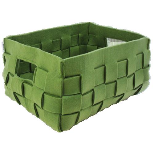 514-groen-vilten geweven mand medium (42x31x24,5cm)-2