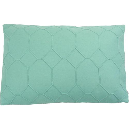 hexagon aqua kussen zee blauw turquoise hinck amsterdam wolvilt 40x60cm woonaccessoires met bijzondere texturen met oog voor detail, handgemaakt en of handgeweven