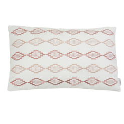 Hexagon borduur rose kussen hinck amsterdam woonaccessoires met bijzondere texturen met oog voor detail van een hoge kwaliteit
