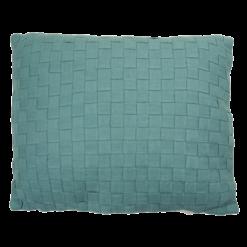 linnen geweven sea blue kussen blauw hinck amsterdam woonaccessoires met bijzondere texturen met oog voor detail van een hoge kwaliteit