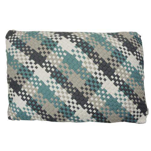Multi weave linnen sea blue kussen blauw hinck amsterdam woonaccessoires met bijzondere texturen met oog voor detail van een hoge kwaliteit