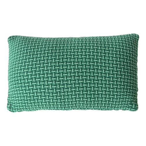 Basket weave green small groen felgroen diepgroen donkergroen kussen hinck amsterdam katoen 35x55 cm woonaccessoires met bijzondere texturen met oog voor detail, handgemaakt en of handgeweven