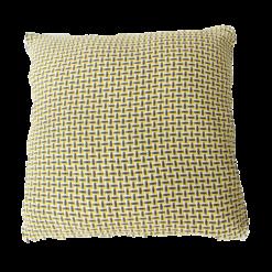 Basket weave ocre grey large geel oker ochre donkergrijs grijs wit kussen hinck amsterdam katoen 60x60 cm woonaccessoires met bijzondere texturen met oog voor detail, handgemaakt en of handgeweven