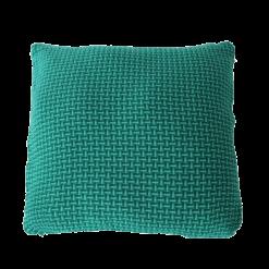 Basket weave rich green large groen felgroen diepgroen donkergroen kussen hinck amsterdam katoen 60x60 cm woonaccessoires met bijzondere texturen met oog voor detail, handgemaakt en of handgeweven