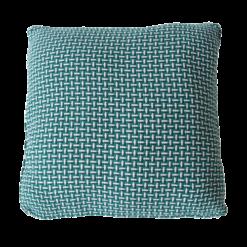 Basket weave sea blue large blauw diepblauw felblauw kussen hinck amsterdam katoen 60x60 cm woonaccessoires met bijzondere texturen met oog voor detail, handgemaakt en of handgeweven