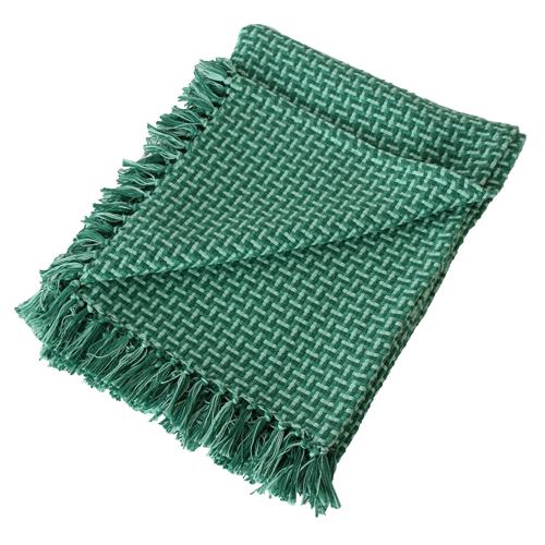 Basket weave plaid green groen diepgroen hinck amsterdam katoen 130x170 cm woonaccessoires met bijzondere texturen met oog voor detail, handgemaakt en of handgeweven