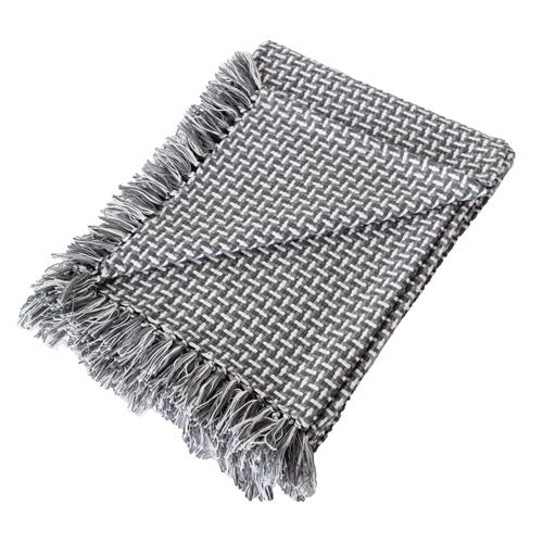 Basket weave plaid grey grijs donkergrijs antraciet wit lichtgijs hinck amsterdam katoen 130x170 cm woonaccessoires met bijzondere texturen met oog voor detail, handgemaakt en of handgeweven