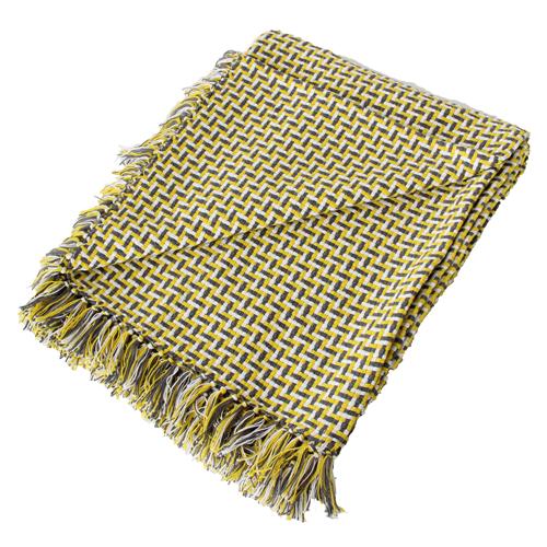 Basket weave plaid ocre grey geel wit grijs oker hinck amsterdam katoen 130x170 cm woonaccessoires met bijzondere texturen met oog voor detail, handgemaakt en of handgeweven