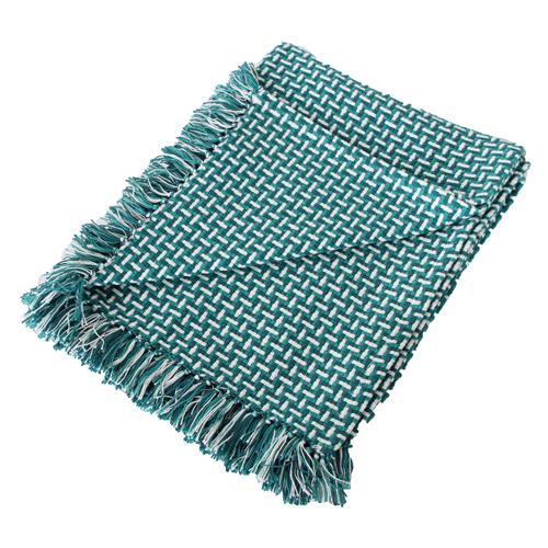 Basket weave plaid sea blue blauw felblauw diepblauw petrol hinck amsterdam katoen 130x170 cm woonaccessoires met bijzondere texturen met oog voor detail, handgemaakt en of handgeweven