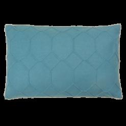 hexagon petrol blue kussen licht blauw hinck amsterdam wolvilt 40x60cm woonaccessoires met bijzondere texturen met oog voor detail, handgemaakt en of handgeweven