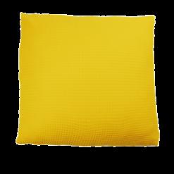 wafel sulphur yellow large okergeel kussen hinck amsterdam woonaccessoires met bijzondere texturen met oog voor detail van een hoge kwaliteit