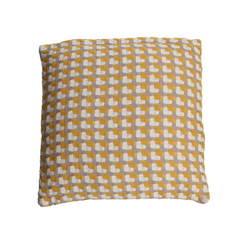 Three color weave ocre oker ochre ocre geel taupe wit beige kussen hinck amsterdam katoen 50x50 cm woonaccessoires met bijzondere texturen met oog voor detail, handgemaakt en of handgeweven