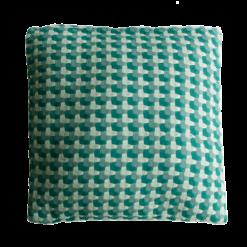 Three color weave green groen green cadmiumgreen kussen hinck amsterdam katoen 50x50 cm woonaccessoires met bijzondere texturen met oog voor detail, handgemaakt en of handgeweven