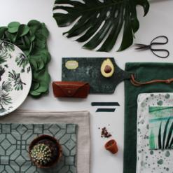 Interieur inspiratie groen green botanisch moodboard trend kussens vernieuwend hinck amsterdam woonaccessoires