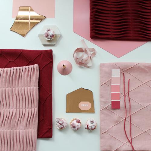 Interieur inspiratie roze rood poeder roze zachtroze dieprood zoet moodboard trend kussens vernieuwend hinck amsterdam woonaccessoires