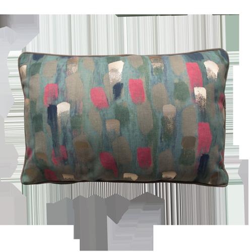 Paint pink green kussen verf goud groen roze hinck amsterdam polyester digital printing 35x50cm woonaccessoires met bijzondere texturen met oog voor detail, handgemaakt en of handgeweven