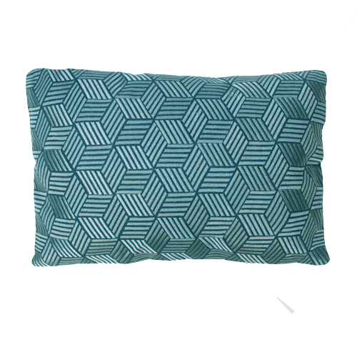 Cross brightblue kussen donkerblauw diepblauw blauw hinck amsterdam linnen hand geborduurd 35x50cm woonaccessoires met bijzondere texturen met oog voor detail, handgemaakt en of handgeweven