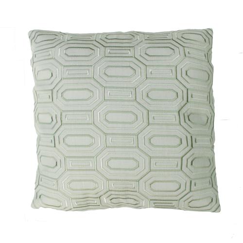 Octagon borduur dewgreen kussen groen mintgroen zachtgroen hinck amsterdam linnen hand geborduurd 45x45cm woonaccessoires met bijzondere texturen met oog voor detail, handgemaakt en of handgeweven