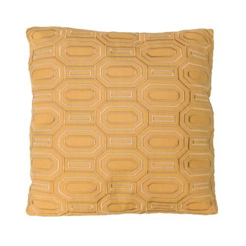 Octagon borduur ochre kussen geel oker ocre warm yellow hinck amsterdam linnen hand geborduurd 45x45cm woonaccessoires met bijzondere texturen met oog voor detail, handgemaakt en of handgeweven