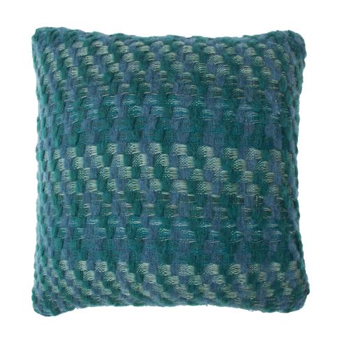 Kussen Multiknit green blue green groen blauw hinck amsterdam katoen wol 45x45cm woonaccessoires met bijzondere texturen met oog voor detail, handgemaakt en of handgeweven