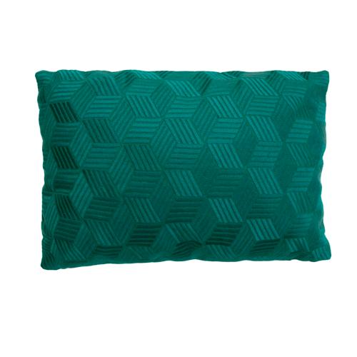 Cross peacockgreen kussen donkergroen groen diepgroen green hinck amsterdam linnen hand geborduurd 35x50cm woonaccessoires met bijzondere texturen met oog voor detail, handgemaakt en of handgeweven