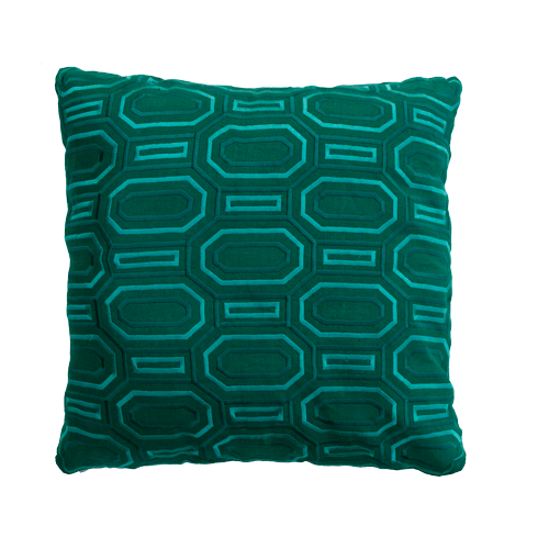 Octagon borduur peacockgreen kussen groen donkergroen hinck amsterdam linnen hand geborduurd 45x45cm woonaccessoires met bijzondere texturen met oog voor detail, handgemaakt en of handgeweven
