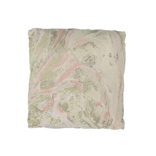Marble pink green groen roze marmer goud kussen hinck amsterdam katoen digital printing 50x50cm woonaccessoires met bijzondere texturen met oog voor detail, handgemaakt en of handgeweven