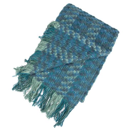 Plaid Multiknit green blue green groen blauw hinck amsterdam katoen wol 130x170cm woonaccessoires met bijzondere texturen met oog voor detail, handgemaakt en of handgeweven