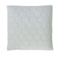 hexagon puff ivory kussen naturel grijs taupe hinck amsterdam jersey 50x50cm woonaccessoires met bijzondere texturen met oog voor detail, handgemaakt en of handgeweven