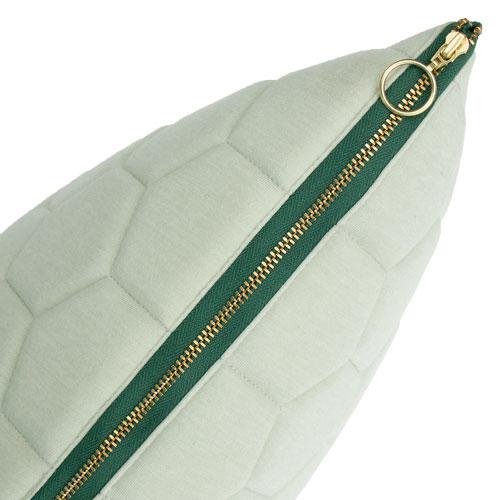 jersey hexagon puff dewgreen detail kussen mint zacht groen gekleurde rits hinck amsterdam jersey 50x50cm woonaccessoires met bijzondere texturen met oog voor detail, handgemaakt en of handgeweven