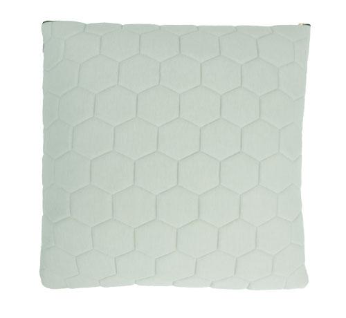 jersey hexagon puff dewgreen kussen mint zacht groen gekleurde rits hinck amsterdam jersey 50x50cm woonaccessoires met bijzondere texturen met oog voor detail, handgemaakt en of handgeweven