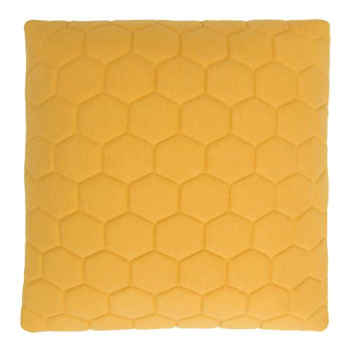 jersey hexagon puff ochre kussen ochre oker geel hinck amsterdam jersey 50x50cm woonaccessoires met bijzondere texturen met oog voor detail, handgemaakt en of handgeweven