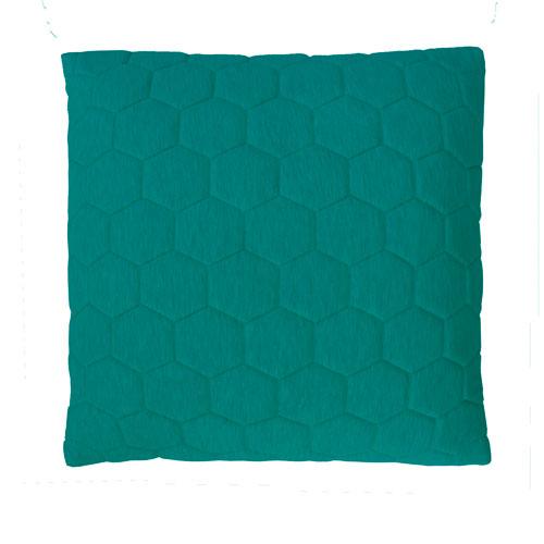 Puff peacockgreen-peacock zip kussen donker groen blauw petrol hinck amsterdam jersey 50x50cm woonaccessoires met bijzondere texturen met oog voor detail, handgemaakt en of handgeweven