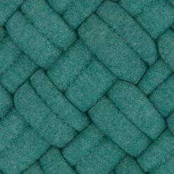 wicker peacock green detail kussen petrol blauw groen hinck amsterdam jersey 40x40cm woonaccessoires met bijzondere texturen met oog voor detail, handgemaakt en of handgeweven