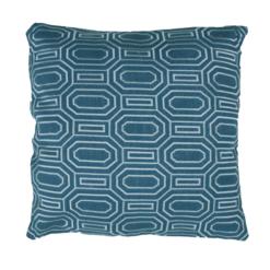 Octagon borduur brightblue kussen donker blauw blue hinck amsterdam linnen hand geborduurd 45x45cm woonaccessoires met bijzondere texturen met oog voor detail, handgemaakt en of handgeweven