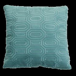 Octagon borduur seablue kussen zeeblauw lichtblauw zachtblauw hinck amsterdam linnen hand geborduurd 45x45cm woonaccessoires met bijzondere texturen met oog voor detail, handgemaakt en of handgeweven