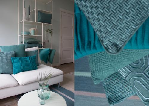 Interieur inspiratie seablue zee blauw nieuwste trend kussens vernieuwend hinck amsterdam woonaccessoires