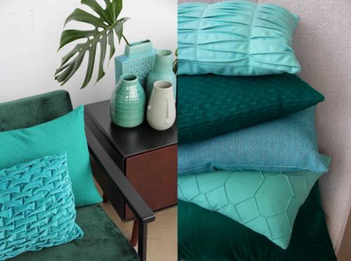 Interieur inspiratie aqua cadmium green groen nieuwste trend kussens vernieuwend hinck amsterdam woonaccessoires