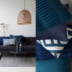 Interieur inspiratie blauw donkerblauw diepblauw bamboe lamp botanisch nieuwste trend kussens vernieuwend hinck amsterdam woonaccessoires