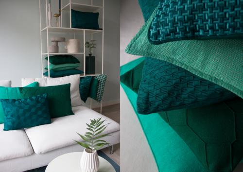 Interieur inspiratie cadmium green groen nieuwste trend kussens vernieuwend hinck amsterdam woonaccessoires