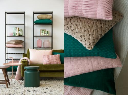 Interieur inspiratie roze groen pink green nieuwste trend kussens vernieuwend hinck amsterdam woonaccessoires