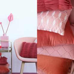 Interieur inspiratie roze flamingo oudroze mineralred mineraal rood rood roze rose oranje nieuwste trend kussens vernieuwend hinck amsterdam woonaccessoires